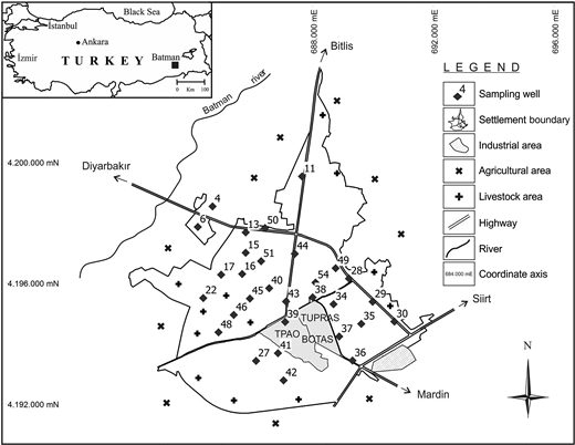 Location map, contaminants, and sampling wells of the study area.
