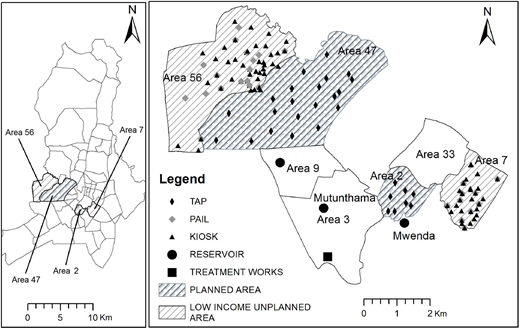 (a) Map of Lilongwe municipality and the four sampling areas; and (b) detailed map of four areas, distinguishing planned and unplanned areas, with the sampling points.