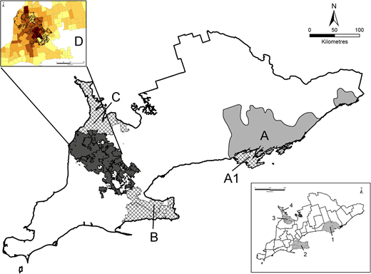 Map of sample collection sites: A. Submission catchment for 2012 and 2013 samples; A1. Subset of A that was an area of high E. coli contamination. B and C. Areas of high E. coli contamination. D. High cattle density region. Map of southern Ontario provided in bottom right demonstrates original regions of elevated risk of E. coli contamination in private water submissions (Krolik et al. 2013), which were used to define collection sites A1, B and C.