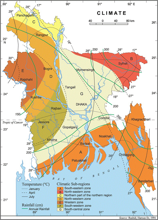 Seven climatic zones of Bangladesh (Source: Prime Minister's Office database, Bangladesh, http://lib.pmo.gov.bd/maps/images/bangladesh/Climate.gif).