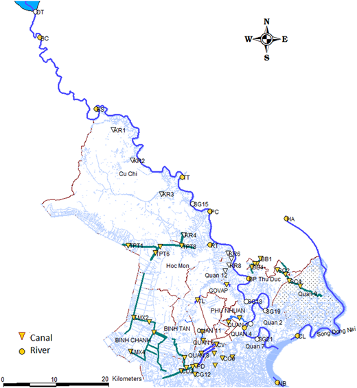 Surface water sampling locations. Sites indicated by a gray circle (river) or triangle (canal) were sampling locations employed in this study.