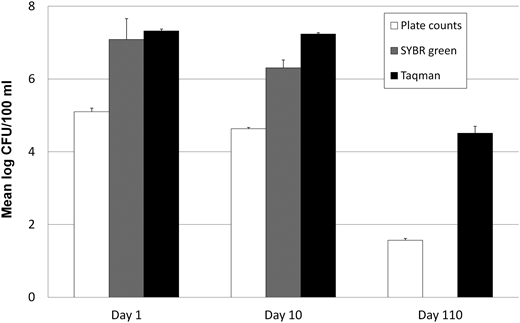 Survival study results for filtered surface water. Bars represent the mean log CFU/100 ml counts determined by spread plating (open bars), SYBR green real-time PCR (gray bars), or Taqman real-time PCR (black bars) at 1 and 10 days, respectively. For day 110 samplings, only spread plating and Taqman real-time PCR assays were conducted. Error bars are standard error of the mean.