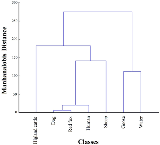 Relationships between different classes (animal hosts and abstracted water) based upon their bacterial composition, using Mahalanobis distance (MATLAB).