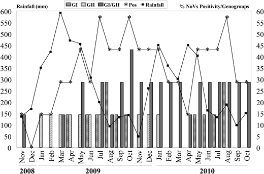 Monthly distribution of norovirus GI and GII positivity in environmental samples and average values of rainfall in Belém city, Northern Brazil, collected from November 2008 to October 2010.