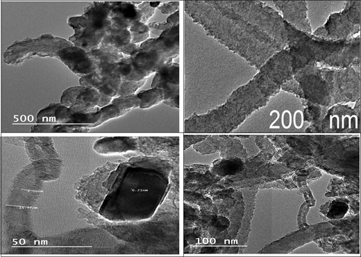 TEM images for CNTs-clay composite at different magnifications.
