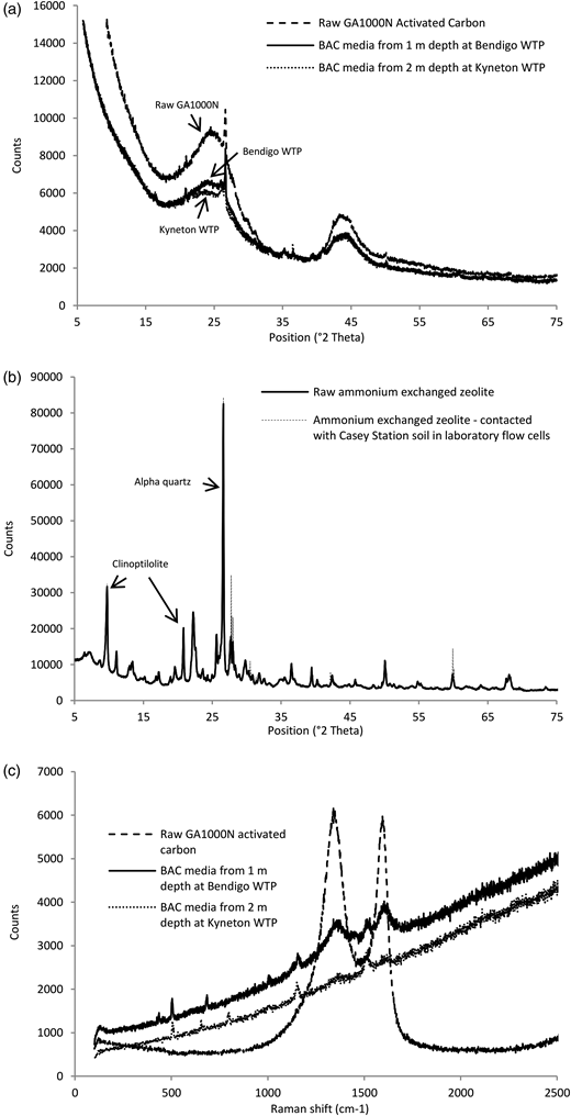 XRD spectra of raw BAC media and BAC media from the Kyneton WTP and the Bendigo WTP (a), and ammonium exchanged zeolite within laboratory flow cells (b). Raman spectra of raw BAC media and BAC media from the Kyneton WTP and the Bendigo WTP (c). Raman data are not shown for zeolite as spectroscopy did not yield conclusive results.