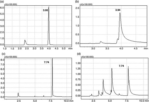 Chromatographic peaks for standards and samples of chloroform (a) and (b) and bromoform (c) and (d).