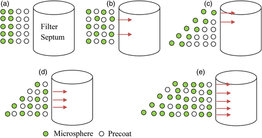 Distribution of precoat and microsphere before and after DE filter flow interruption: (a) before flow interruption, (b) after flow interruption – mixture of precoat and microsphere, (c) after flow interruption – uneven coating, (d) after flow interruption – combination of (b) and (c), (e) after flow interruption – three microsphere seeding cycles.