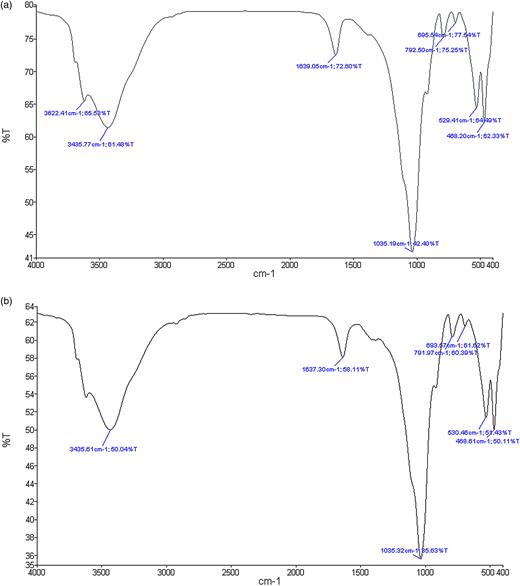 FTIR spectra of (a) montmorillonite nanoparticles and (b) bentonite nanoparticles.