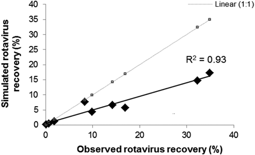 Comparison of simulated and observed results for rotavirus recovery for different cover and soil conditions.