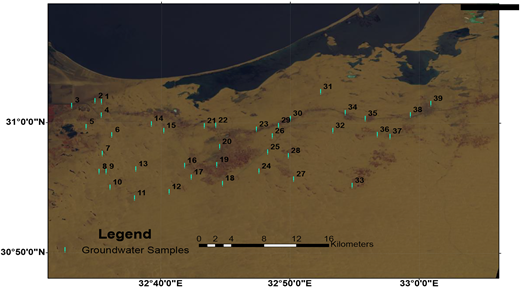 Location map of the collected groundwater samples, northwest Sinai.