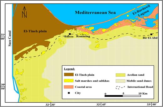 Geomorphological map of northwestern Sinai (compiled after Elwan et al. 1983; Geological Survey of Egypt 1992; Yousef & El-Shenawy 2000).
