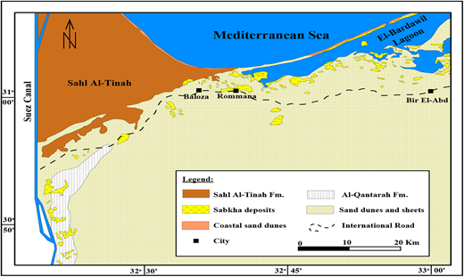 Geological map of northwest Sinai, Egypt (after Geological Survey of Egypt 1992).