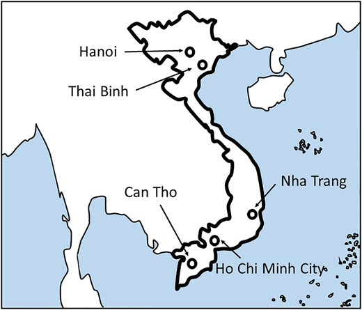 Locations where edible ice samples were harvested in this study. Samples were obtained from restaurants in Hanoi, Thai Binh, Nha Trang, Ho Chi Minh City, and Can Tho, Vietnam.