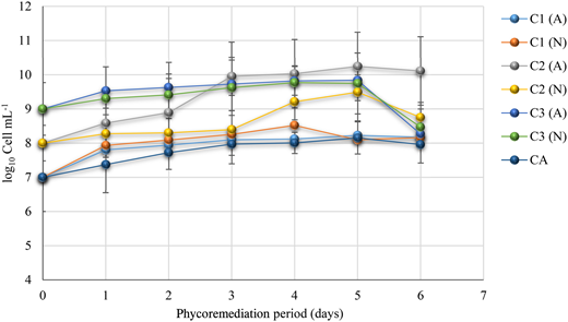 Scenedesmus sp. concentrations during the aerated (A) and non-aerated (N) phycoremediation process of public market wastewater for 6 days and with different concentrations of Scenedesmus sp. (C1, 7 log10 cell mL–1; C2, 8 log10 cell mL–1; C3 9 log10 cell mL–1).