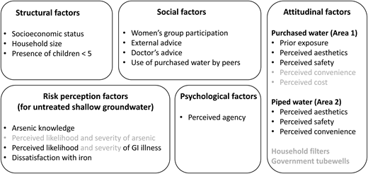 Conceptual framework and list of variables used in our investigation of the determinants of household drinking water practices. The variables indicated in grey were excluded from our quantitative analyses because of poor data quality or difficulties in measuring them (details are presented in the SI, Table S2, available with the online version of this paper).