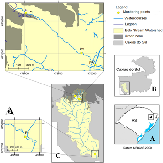 (a) Map of Rio Grande do Sul – Brazil, in which the location of the city of Caxias do Sul is highlighted. (b) Map of Caxias do Sul, in which the outline and location of Belo Stream are highlighted. (c) Distribution of the sampling points along Belo Stream (elaborated by Geise Macedo dos Santos).
