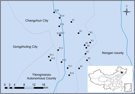 Sampling map showing locations of 20 wells. Each black dot in the map represents the location of one sampling well, and the star in the map of China represents the location of Changchun city.