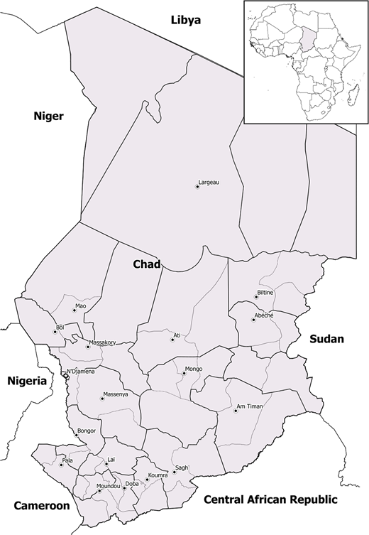 Area map of Chad.