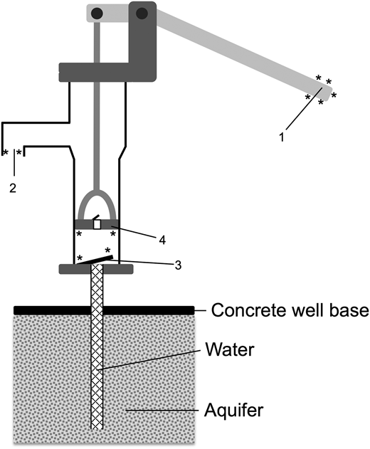 Schematic of typical suction mode hand pump. Sampling positions of well-heads. Handle: 1; spout: 2; seal: 3; piston: 4. The handle, spout and bottom of the piston are all made from metal while the seal is made from plastic. The piston assembly comprises a rubber plug, which seals the pump barrel, and a metal base. *Indicates positions that were swabbed.