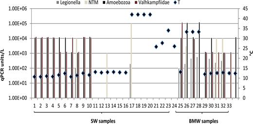 Legionella, NTM, FLA qPCR units (qPCR units/L) and temperature values (T) detected in 34 water samples.