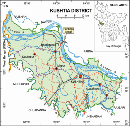 Location map of Kushtia, Bangladesh.