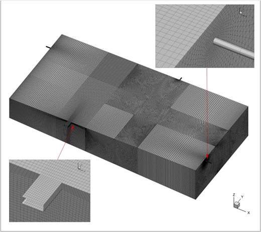Discretized geometry with mesh consisting of 1,619,049 elements.