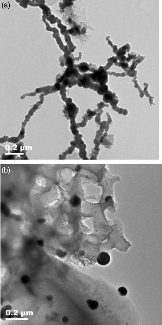 TEM images of laboratory synthesized (a) NZVI and (b) M-NZVI. The M-NZVI particles have a (MCM-41):Fe0 mass ratio of 4:1.