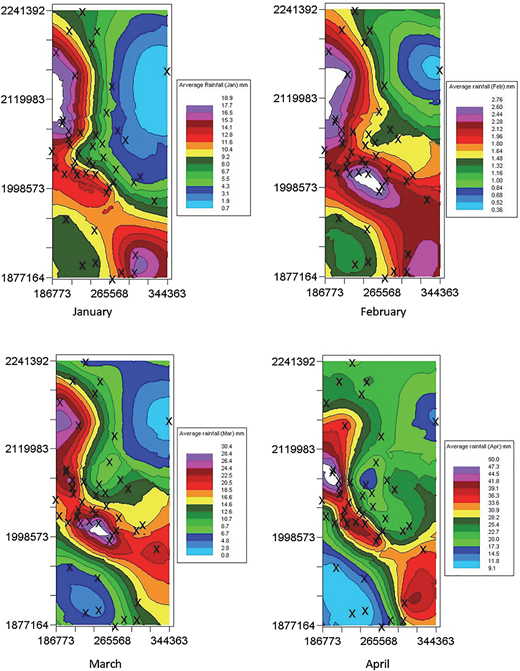 Monthly average rainfall distributions from January to April using Co-Kriging.