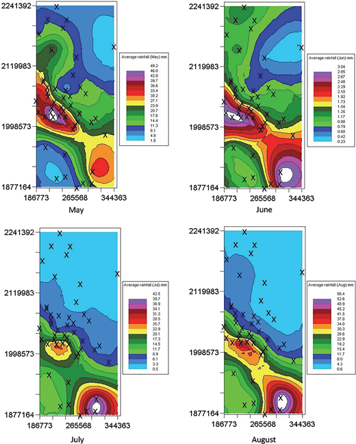 Monthly average rainfall distributions from May to August using Co-Kriging.