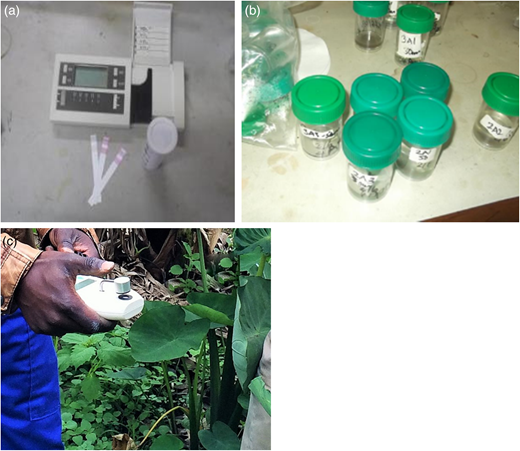Merck Reflectoquant test kit (a), leachates collected from the field (b) and the CCM200 used for measuring chlorophyll content (c).