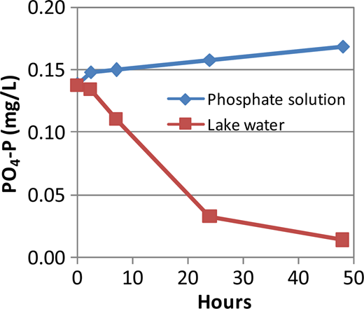 Batch test for phosphate concentration in lake water.