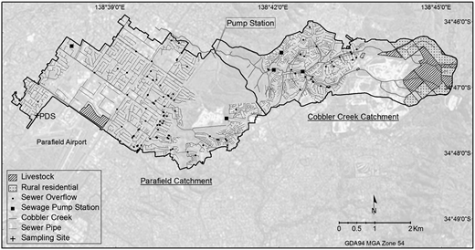 Stormwater sampling sites and sewer overflows in the Parafield and Cobbler Creek catchments. PDS is the Parafield Data Station sampling point.