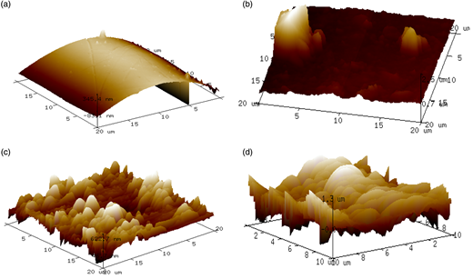 AFM images of bare membrane (a) and fouled membranes at ZnO concentrations of (b) 1 mg/L, (c) 10 mg/L, and (d) 100 mg/L.