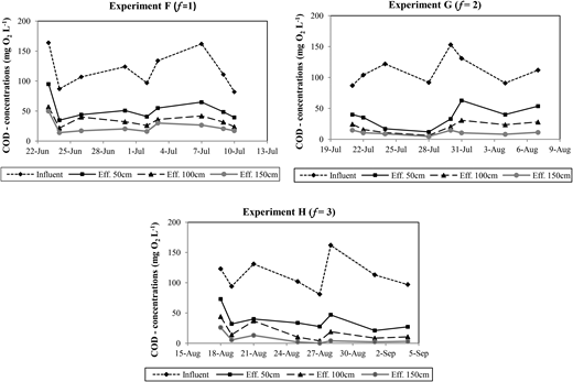 COD concentrations at 50, 100, and 150 cm filter depths during experiments F, G, and H.