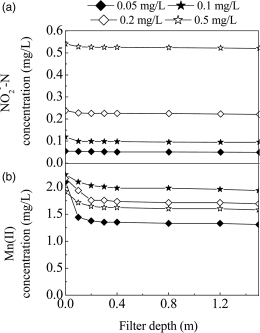 Nitrite (a) and Mn(II) (b) concentration profiles along depth of filter 2 for nitrite feed concentration of approximately 0.05, 0.1, 0.2 and 0.5 mg L–1, respectively, and Mn(II) feed concentration of approximately 2 mg L–1 in anaerobic conditions.