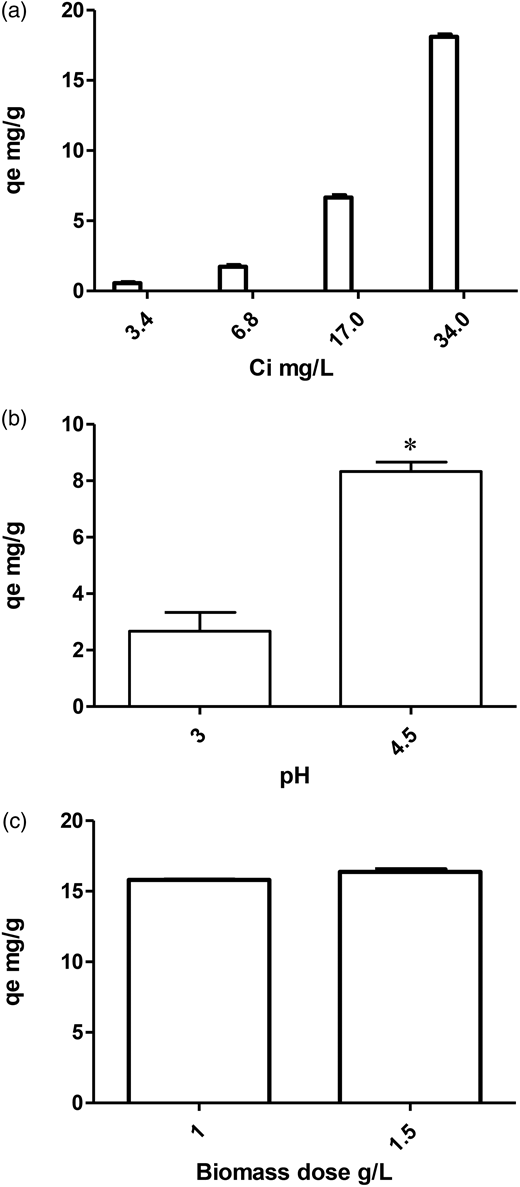 (a) Effect of initial concentration of metal ion (Ci) on biosorption (qe; uptake capacity) of Fe(III) at biomass dose of 1 g/L and at pH 3. (b) Influence of pH of aqueous solution of Fe(II) on biosorption by LAB biomass under given conditions (biomass at 1 g/L and at initial metal ion concentration of 20 mg/L Fe(II). * means among the treatments there was significant difference (p < 0.05). (c) Influence of dosage of LAB biomass on biosorption (qe; uptake capacity) of Fe(III) at initial metal ion concentration of 34 mg/L at pH 3.
