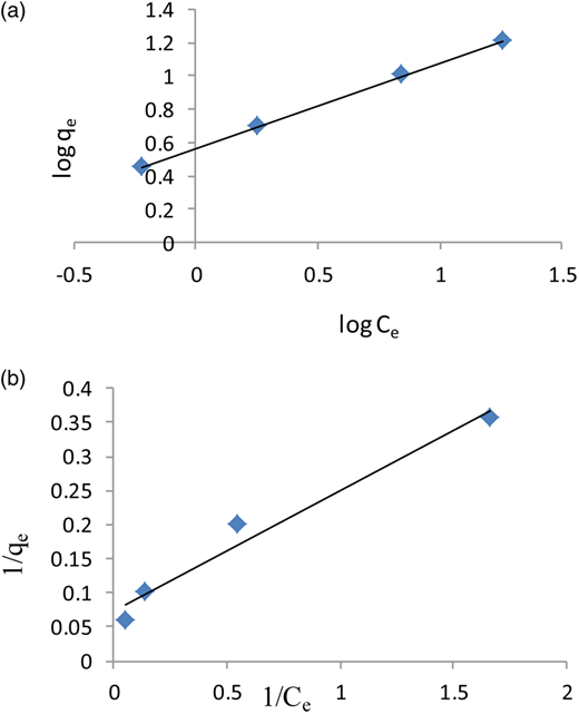 (a) The linearized Freundlich adsorption isotherm for biosorption of Fe(III) ion by LAB biomass at a biomass concentration of 1 g/L. (b) The linearized Langmuir adsorption isotherm for biosorption of Fe(III) ion by LAB biomass at a biomass concentration of 1 g/L.