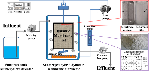 Schematic diagram of the submerged hybrid DM bioreactor system.