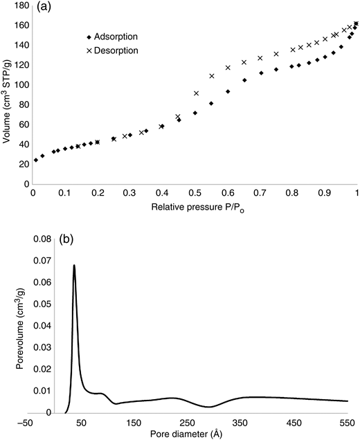 (a) N2 adsorption–desorption isotherms and (b) pore size distribution of AA.