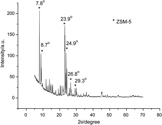 XRD patterns of Nd/ZSM-5 particles prepared with a Nd:Si molar ratio of 1:100.