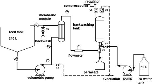 Schematic flow diagram of the membrane filtration pilot.
