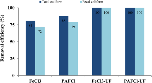 Total and fecal coliforms removal by coagulation-UF process.