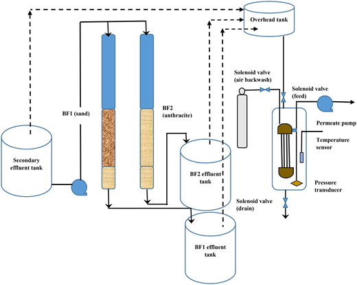 Pilot plant schematic for experiments comparing biofilter media as pre-treatments for UF (three experiments were conducted each week by feeding UF with secondary effluent or BF1 effluent or BF2 effluent).
