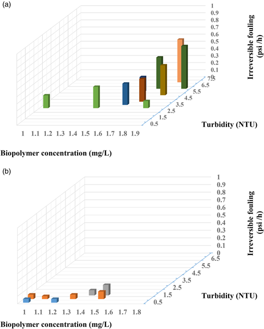 The combined impact of turbidity and BP concentrations in (a) secondary effluent and (b) biofilter effluent on irreversible fouling of the UF membrane.