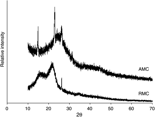 XRD patterns of RMC and AMC samples.