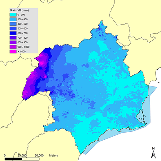 Spatial distribution of average yearly rainfall (mm/y) in the SRBD (1980/81–2011/12). Source: SRBD, Ministry of Agriculture and Fisheries, Food and Environment.
