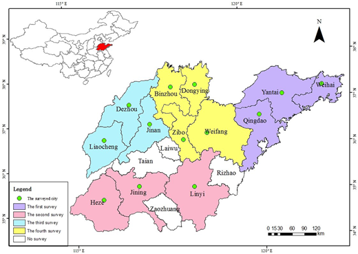 Geographic locations of the survey cities in Shandong province, China.