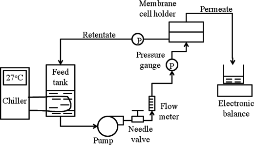 Schematic diagram of bench scale cross-flow membrane filtration system.