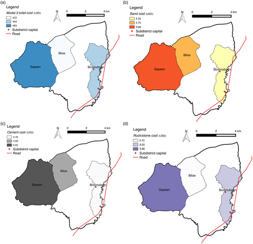 Costs of (a) Model 3 toilet (per unit), (b) sand (per cubic metre), (c) cement (per sack) and (d) rock (per cubic metre) in three villages in TTU subdistrict, Biboki Utara (Indonesia).